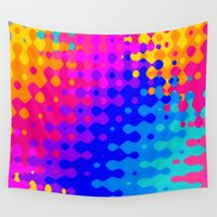 hippy Wall Tapestries featuring Totally Psychedelic Hippy Pattern by Kirsten Star