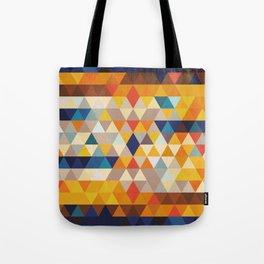 Geometric Triangle - Ethnic Inspired Pattern - Orange, Blue Tote Bag