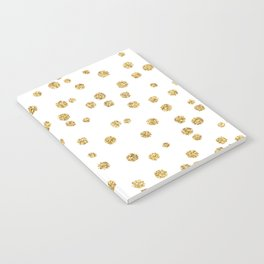 Gold glitter confetti on white - Metal gold dots Notebook