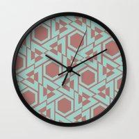 hexagon Wall Clocks featuring Hexagon by Jerod Barker
