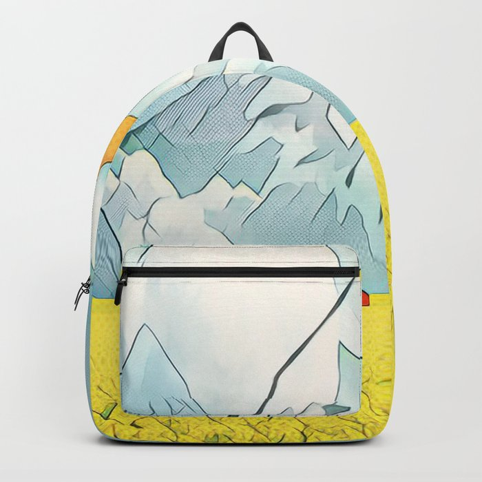 Giraffe in the yellow field of roses Backpack
