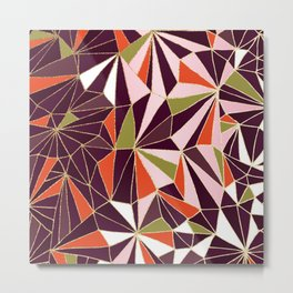 New Art Deco Geometric Pattern - Burgundi and Pink #deco #buyart Metal Print