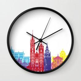 Krakow skyline pop Wall Clock