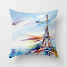 TARDIS IN RAINBOW TOWER Throw Pillow