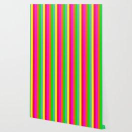 Neon Hawaiian Rainbow Cabana Stripes Wallpaper
