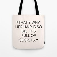 mean girls Tote Bags featuring MEAN GIRLS QUOTE by kooksoul