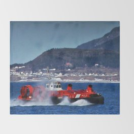Hovercraft Racing to Town Throw Blanket