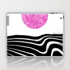 Yumi - spilled ink marble abstract landscape moon space swirl wave black and white modern minimal  Laptop & iPad Skin