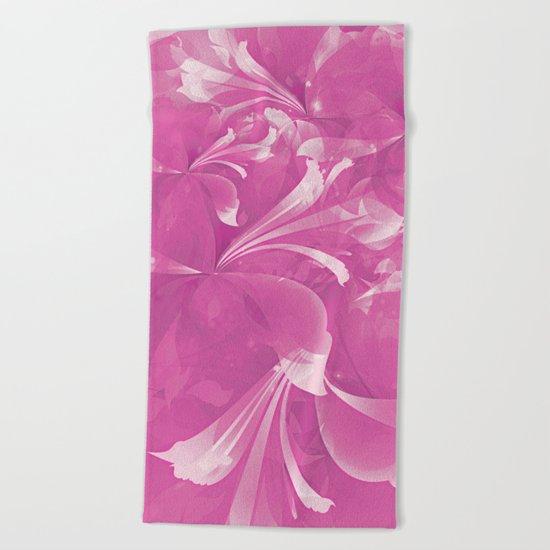 Stylized flowers in pink Beach Towel