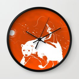 East O the Sun West O the Moon: RED AND WHITE Graphic Version Wall Clock