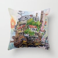 calcifer Throw Pillows featuring Howls Moving Castle Painting 2 by Little Miss Marikit