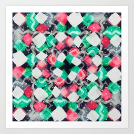 Celebration of Confetti & Streamers - a white, navy, emerald green & melon abstract Art Print