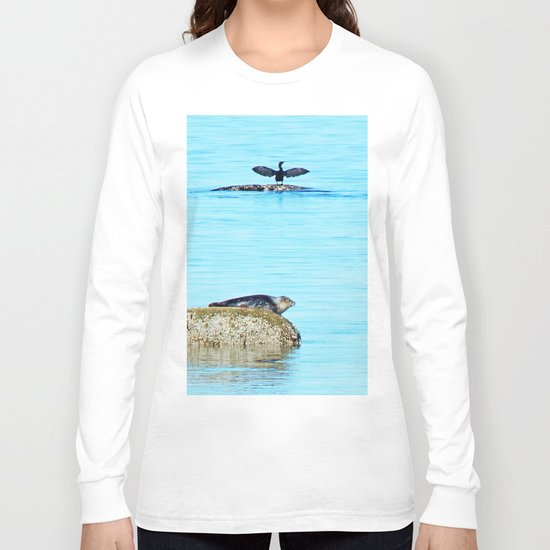 Seal pup and Cormorant getting some Sun  Long Sleeve T-shirt