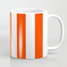 Electric orange - solid color - white vertical lines pattern Coffee Mug