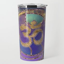 Om Symbol Golden and Paint texture Travel Mug