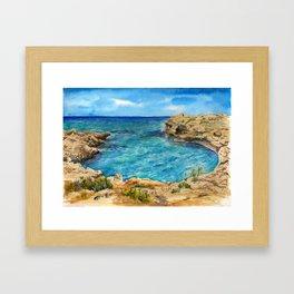 Watercolor sea of Cyprus Framed Art Print