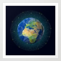 low poly earth Art Print