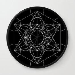 Metatron's Cube Black & White Wall Clock