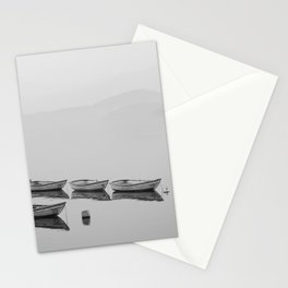 Small boat lake black white Stationery Cards