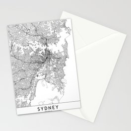 Sydney White Map Stationery Cards
