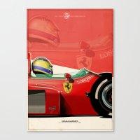 f1 Canvas Prints featuring Michele Alboreto - F1 1985 by Evan DeCiren