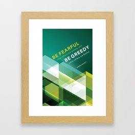 Buffett | Be Fearful When Others Are Greedy | Green Framed Art Print
