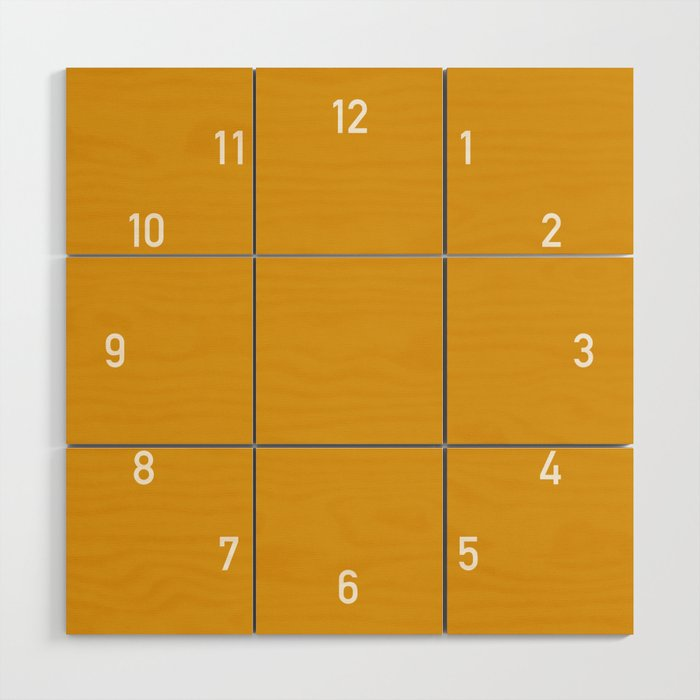 Numbers Clock - Mustard Wood Wall Art