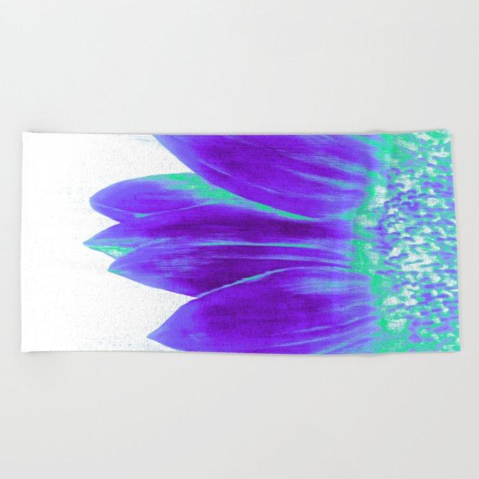 Sunflower Bright Violet & Mint Green Beach Towel