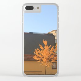 Yellow tree in the city Clear iPhone Case