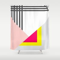 memphis Shower Curtains featuring Memphis Milano by Xchange Art Studio