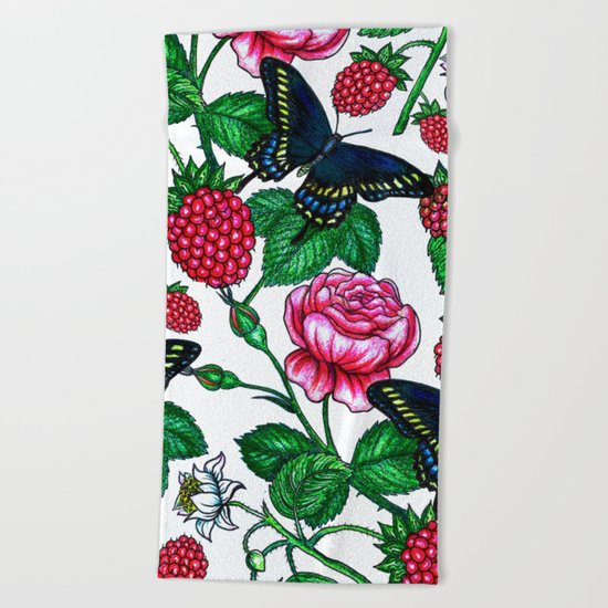 Raspberries pattern Beach Towel