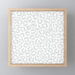 Elegant White Gray Leopard Cheetah Animal Print Framed Mini Art Print