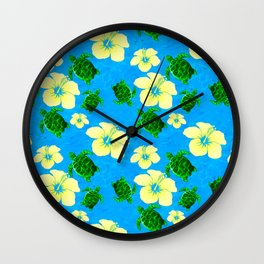 Yellow Hibiscus Hawaiian Pattern Wall Clock