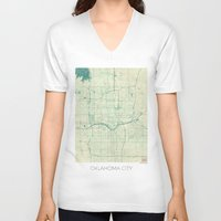 oklahoma V-neck T-shirts featuring Oklahoma City Map Blue Vintage by City Art Posters