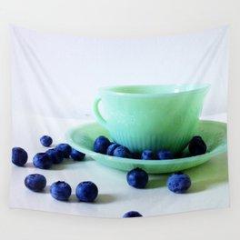 Retro Breakfast - Jadite and Blueberries Wall Tapestry