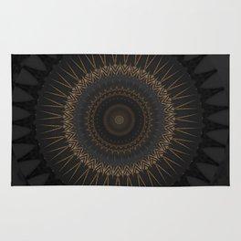 Black Marble and Bronze Modern Mandala Rug