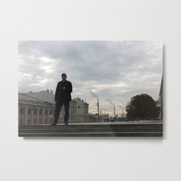 Man with Cellphone Moscow Metal Print