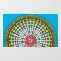 health Area & Throw Rugs featuring Health Mandala - מנדלה בריאות by dotan yiloz