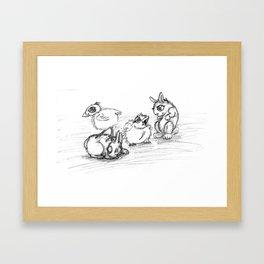 Bunnies and Chicks Framed Art Print