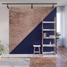 Minimalist rose gold navy blue color block geometric Wall Mural