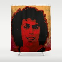 rocky horror Shower Curtains featuring The Rocky Horror Picture Show by Rabassa