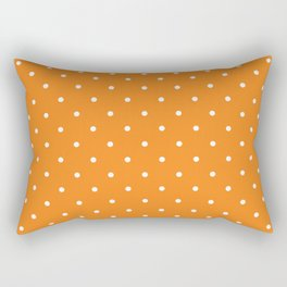 Small White Polka Dots with Orange Background Rectangular Pillow