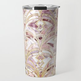 Dusty Rose and Coral Art Deco Marbling Pattern Travel Mug