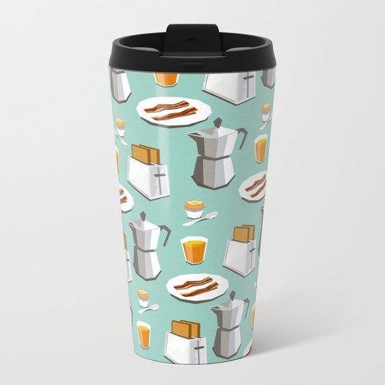 Happy breakfast! Metal Travel Mug