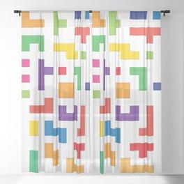 Tetris Blocks Sheer Curtain