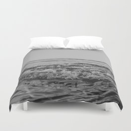 Black and White Pacific Ocean Waves Duvet Cover
