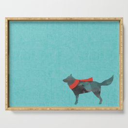 Dog In Red Scarf Serving Tray