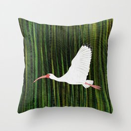 American White Ibis In Flight Throw Pillow