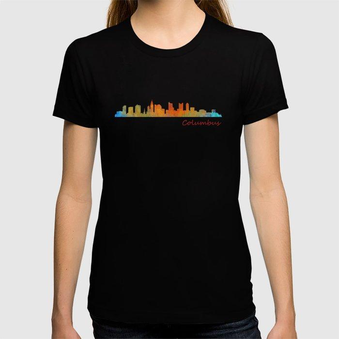 Columbus Ohio, City Skyline, watercolor  Cityscape Hq v1 T-shirt