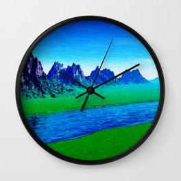 Mountain River Landscape Wall Clock
